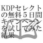 KDPセレクトの無料5日間キャンペーンを試してみた結果